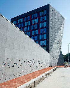 Unique dormitory building on the campus of Twente university in Enschede, Netherlands is equipped with 30 meter climbing wall - another reason to love Dutch architecture!
