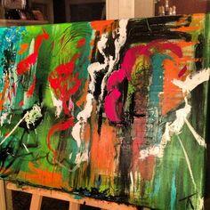 """""""Beatrix treed af"""" 1m x 70 cm / acryl / abstract / kleurrijk"""