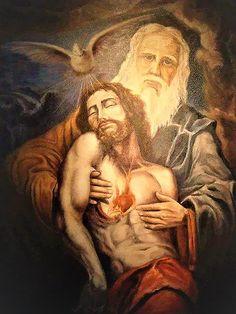 Father God holding Jesus , His Son Pictures Of Jesus Christ, Religious Pictures, Catholic Art, Religious Art, Santicima Trinidad, Image Jesus, Saint Esprit, Biblical Art, Jesus Art