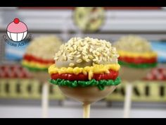 Burger Cakepops! Learn how to make these using our FREE online video tutorials. Visit YouTube channel MyCupcakeAddiction for these and lots more cupcake and cakepop decorating tutorials!