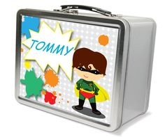 Items similar to Robin Superhero Theme LunchBox - Gifts for Boys, Metal Lunch Box on Etsy Robin Superhero, Personalized Puzzles, Gifts For Kids, Lunch Box, Etsy Seller, Memories, Play, Children, Creative