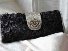 Black gold silk clutch handbag with silver sequins. Indian Bollywood purse. Stone sequin evening bag. From Artkrti.