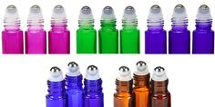 Pack of 6 Stainless Steel Essential Oil by OasisEssentialOil roller bottles for perfumes or oil blends