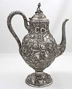 Loring Andrews Cincinnati hand chased sterling repousse tea pot with fruit and flowers