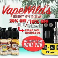 VapeWild is having a Holiday Sale that will fill you with holiday cheer through the new year! Our Holiday Sale is going on now and will end tonight at midnight. Get WILD with these holiday deals before they expire tonight at midnight!  http://ift.tt/1QNWuFt  Get all of our e-juice for 20% off which includes our Pre-Steeped line our made-to-order e-juice and sample packs. Use the coupon code HOLIDAY20 for 20% off e-juice!  http://ift.tt/1QNWuFt  Get 10% off all hardware today only! You will…