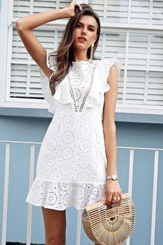 Amazing white lace mini everyday ruffle summer dress cotton bohemian party boho, - Summer Outfits for Work White Dress Summer, Little White Dresses, Casual Summer Dresses, Trendy Dresses, Short Dresses, Summer Outfits, Dress Casual, Cotton Summer Dresses, Boho Style Dresses
