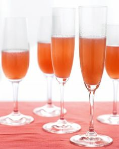 Pear and Cranberry Bellini - Combine pear nectar, cranberry juice, and Prosecco to make this easy, elegant cocktail. You can also make a nonalcoholic version by substituting the sparkling wine for seltzer or ginger ale.