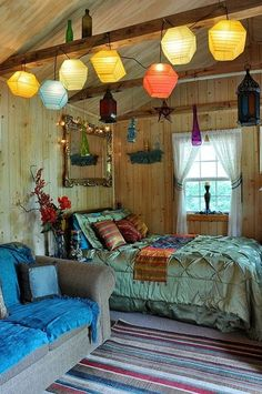 Bedroom , Chic Boho Bedroom Ideas : Boho Bedroom Ideas With Lanterns And Elegant Bedding With Framed Mirror Above The Bed And Completed With Cushion And Rug