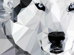 low poly art-On aime le Low Poly Art !-Low poly art loup blanc pixels addict