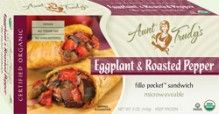 Organic Eggplant & Roasted Pepper Fillo Pocket Sandwich (5 oz.) - Roasted #eggplant, roasted peppers, tomatoes and onions, seasoned with basil, garlic, oregano, thyme and pepper, wrapped with Organic #Fillo dough in the shape of a hand-held rectangle. Microwavable. USDA #Organic, #Vegan, #Kosher OU-Parve, Yeast-Free, #SugarFree, No Trans-Fat, No Cholesterol. See nutrition or shop online at http://www.fillofactory.com/brands/brands-aunt-trudys.html.