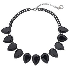 Simply Vera Vera Wang Inverted Teardrop Statement Necklace (1,550 INR) ❤ liked on Polyvore featuring jewelry, necklaces, black, tear drop necklace, teardrop jewelry, nickel free necklaces, lobster clasp necklace and nickel free jewelry