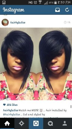 Love the deep side part and swoop bangs!