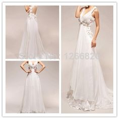 2014 new Vestido De Noiva a-line hand made flower  prom gown chiffon appliques and lace backless v-neck sleeveless wedding dress $165.00