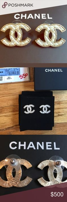 CHANEL CHANEL CC EARRINGS LIGHT SILVER AND GOLD RIM CC EARRINGS THESE ARE A LARGER SIZE COMES WITH BOX DUSTBAG AND TAG   AUTHENTIC CHANEL Jewelry