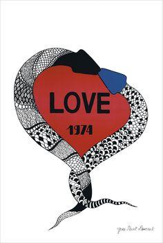 Yves Saint Laurent (1936-2008) Love Cartes de Vœux 1974