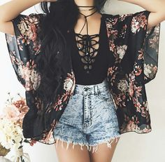 Teen Fashion Outfits, Cute Fashion, Outfits For Teens, Girl Outfits, Womens Fashion, Kimono Fashion, Cute Summer Outfits, Cute Casual Outfits, Stylish Outfits