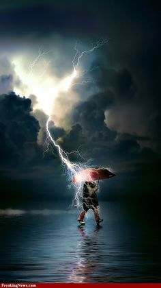 "Jeremiah 10:13 ... ""He sends lightning with rain"" ...  I'm thinking this guy needs to pay attention!"