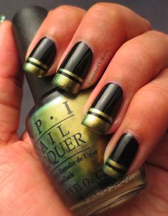 Beauty: Chic black nails & manicure ideas for spring 2013 Funky Nails, Love Nails, How To Do Nails, Pretty Nails, St Patricks Day Nails, Manicure Y Pedicure, Manicure Ideas, Nail Tips, Nagellack Design