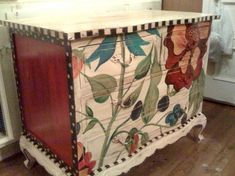 red painted furniture | Hand Painted Furniture ~ Red Floral | I want to make this!!!