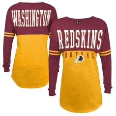 Women's Washington Redskins 5th & Ocean Burgundy Burnout Oversized T-Shirt