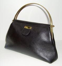 Roger Van S 60s black pebbled leather handbag with brass handles
