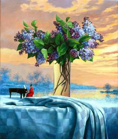 Cloud of Future Spring II Art by Michael Cheval Surreal illusion art Fantasy Art whimsical Art Art And Illustration, Fantasy Kunst, Fantasy Art, Art Visionnaire, Patrick Nagel, Magic Realism, Surrealism Painting, Edward Hopper, Wassily Kandinsky
