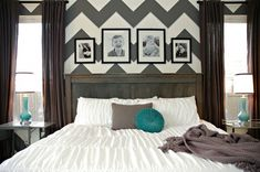 Gray and white chevron bedroom with teal accents and gray stained farmhouse bed.  Via MakelyHome.com