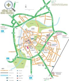 Map showing directions to Park and Ride car park locations Cambridge top tourist attractions map