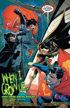 Superman/Batman and their sons Batman E Superman, Son Of Batman, Batman Art, Comic Book Pages, Comic Book Artists, Comic Books Art, Comic Art, Marvel Dc Comics, Marvel Vs