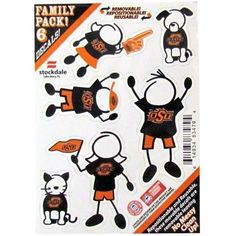 Oklahoma State Cowboys Family Decal Auto Pack Small 5 x 7