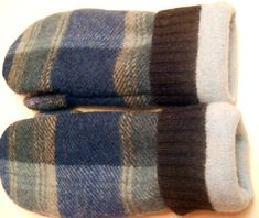 Plaid Blues felted wool mittens recycled sweater by merchantships, $25.00