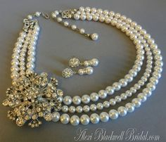 $89.00   Pearl Bridal Necklace Set Brooch Necklace by AlexiBlackwellBridal