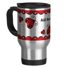 Personalized Custom Red Ladybug Love Bug Hearts Coffee Mug Coffee Mugs Online, Custom Travel Mugs, Wedding Mugs, Create Your Own Mug, Coffee Heart, Love Bugs, Cute Mugs, Personalized Mugs, Photo Mugs