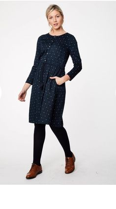 Love this navy ikat dress in super sustainable bamboo for autumn.  Love it paired with the brogues.  #ethicalfashion #ecofashion #ecofriendlyfashion #falldress #autumndress #affiliatelink
