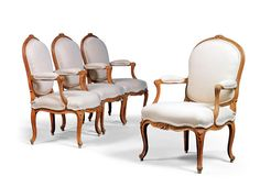 A set of four Louis XV Beechwood Fauteuils by Louis XV Beechwood Fauteuils by Étienne Meunier (fl. State Room, Types Of Furniture, Antique Furniture, 18th Century, Armchair, Upholstery, Dining Chairs, Antiques, Arms