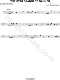 Print and download The Star-Spangled Banner - Bass Clef Instrument sheet music written by Francis Scott Key arranged for Bass Clef Instrument or Cello or Double Bass or Trombone or Bassoon or Baritone Horn. Instrumental Solo in Bb Major.