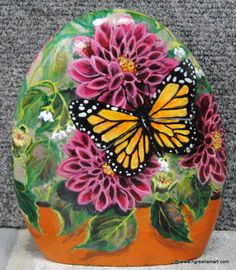 handpainted rocks,butterflies,dahlias,patio decor,garden decor