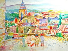 Church and Rooftops, Provence Watercolour 45 x 60 cms