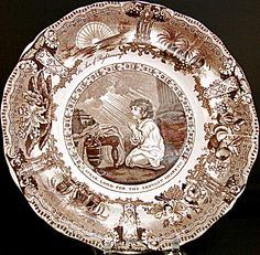 """Brown Transferware """"Son Of Righteousness"""" Plate, Samuel, c. 1835"""