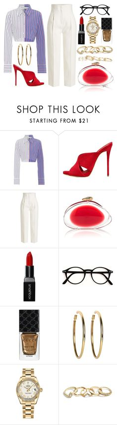 """the only thing my book club reads is wine labels"" by gladyzjetson ❤ liked on Polyvore featuring Off-White, Giuseppe Zanotti, Rosetta Getty, Smashbox, Gucci, Kenneth Jay Lane, Rolex, GUESS, Kendra Scott and girlstrip"