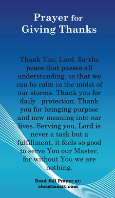 Prayer for Giving Thanks