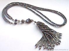 """Сотуар с кистью из жемчуга """"Жоан"""" жемчуг серебро в интернет-магазине на Ярмарке Мастеров. Это украшение - сотуар собран из большого количества только натуральных камней и жемчуга, радужно-серых, серебристо-серых цветов и серебра. Shell Jewelry, Pearl Jewelry, Diy Jewelry, Beaded Jewelry, Jewelry Necklaces, Handmade Jewelry, Fashion Jewelry, Necklace Set, Pearl Necklace"""