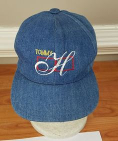 54210775394 Vintage Bootleg Tommy Hilfiger Embroidered Logo jean Cap Hat Spellout 90s