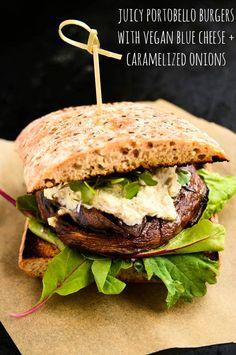 Juicy Portobello Burgers with Vegan Blue Cheese and Caramelized Onions #vegan #vegetarian