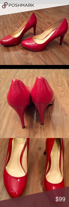 """Cole Haan Nike Air Platform Patent Chelsea Pumps Cole Haan Nike Air Red Patent Platform Chelsea Pumps. Worn less than 5 times. Tiny scuff on side as shown in 3rd picture. Comfortable heels! Heel is 3.25"""" and platform is .25"""". Cole Haan Shoes Heels"""