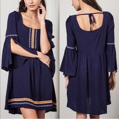 💠💠The LEXIE embroidered bell sleeve ️DRESS -NAVY 🎉️HPx2🎉 Open back style, bell sleeve ️DRESS. ‼️️NO ️TRADE, ️PRICE FIRM‼️ Dresses