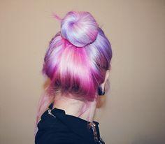 Beautiful multi-coloured hair in a bun.