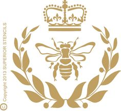 "Stencils Royal Bee Stencil with Crown -10.3"" wide x 10"" Tall Wall Stencil Pillow Stencil Royalty Stencil"
