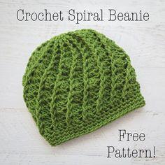 Free Crochet Pattern Spiral Crochet Beanie, Adult Crochet Hat: