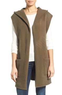 Free shipping and returns on Caslon® Hooded Knit Open Vest at Nordstrom.com. A cozy hood tops a beautifully relaxed open-front vest knit from soft, stretchy yarns in an easy, elongated silhouette.